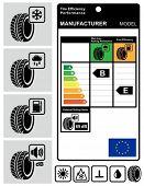 Neumático eficiencia rendimiento los iconos y el conjunto de la etiqueta.