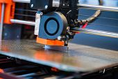 Automatic Three Dimensional 3d Printer Performs Product Creation. Modern 3d Printing Or Additive Man poster