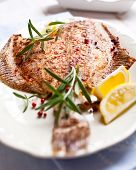 Pan fried turbot flavored with rosemary and pink pepper