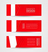 Set Of Three Horizontal Banners With Flag Of Peru. Web Banner Design Template In Color Of Peru Flag. poster