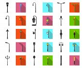 Lamp Post Black, Flat Icons In Set Collection For Design. Lantern And Lighting Vector Symbol Stock W poster