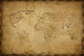Vintage old world map illustration based on image furnished by NASA poster