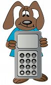 image of mobile-phone  - dog cartoon holding on to cell phone - JPG