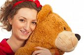 Closeup Of Woman With Teddy Bear