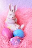 Space Galactic Easter Eggs In A Pink Nest Next To A Bunny poster