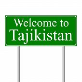 Welcome to Tajikistan, concept road sign