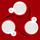 Vector red background with three levels circular chart