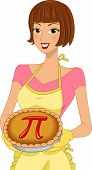 Illustration of a Woman Celebrating Pi Day