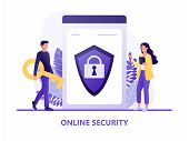 Online Security - People Protecting Computer Data. Data Protection Concept For Web Page, Banner, Pre poster