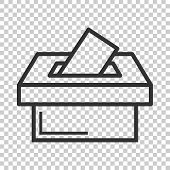 Election Voter Box Icon In Flat Style. Ballot Suggestion Vector Illustration On Isolated Background. poster
