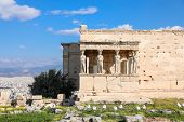 Erechtheion Temple With Caryatid Porch On The Acropolis Of Athens, Greece. World Heritage Ancient Ar poster