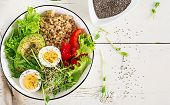 Fresh Salad. Breakfast Bowl With Oatmeal, Paprika, Avocado, Lettuce, Microgreens And Boiled Egg. Hea poster
