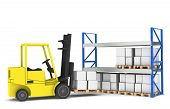 stock photo of reorder  - Forklift and shelves - JPG