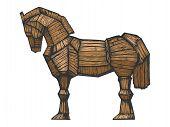 Trojan Horse Color Sketch Engraving Vector Illustration. Horse Wooden Figure. Scratch Board Style Im poster