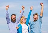 Freedom Concept. Company Three Happy Colleagues Office Workers Enjoy Freedom, Sky Background. Men Wi poster