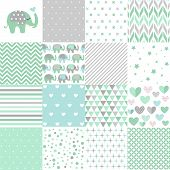 Set Of Baby Shower Patterns. Seamless Pattern Vector. Baby Elephant Vector Set. Graphic Design Eleme poster
