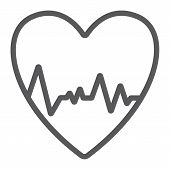 Heartbeat Line Icon, Ecg And Cardiology, Heart Cardiogram Sign, Vector Graphics, A Linear Pattern On poster