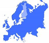 Finland Location In Europe Map poster