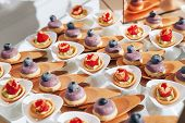 Exclusive Berry Candy Handmade. Finest Cupcakes Desserts. Variety Of Delicious Party Dessert Food. poster