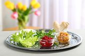 Traditional Passover (pesach) Seder Plate With Symbolic Meal On Table Indoors, Space For Text poster