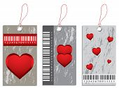 Collection Of Various Price Tags With Valentine Design