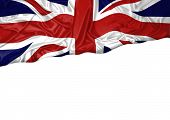 National Flag Of England Hoisted Outdoors With White Background. England Day Celebration. Front View poster