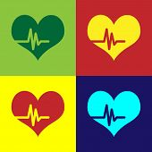 Color Heart Rate Icon Isolated On Color Backgrounds. Heartbeat Sign. Heart Pulse Icon. Cardiogram Ic poster