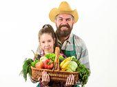 My Father Is Farmer. Family Farm Organic Vegetables. Man Bearded Rustic Farmer With Kid. Farmer Fami poster