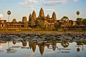 picture of hindu temple  - Angkor Wat Temple at sunset Siem reap Cambodia - JPG
