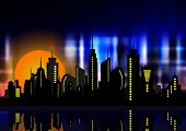 Futuristic City In Neon Lights. Retro Style 80s. Night City. Creative Idea. Design Background, Night poster