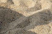Sand Surface Background On The Beach. Small Sand Stone Of Sand Wall Texture Or Sand Wall Background poster