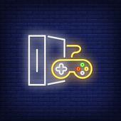 Game Console With Controller Neon Sign. Video Game And Entertainment Design. Night Bright Neon Sign, poster