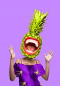 Contemporary Modern Art Collage In Magazine Style With Happy Emotions, Pineapple And Female Lips Ins poster