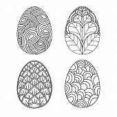 Easter Hand Drawing Eggs,titles Set. Easter Doodle Eggs. Happy Easter Hand Drawing Eggs,titles Set.f poster