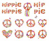 Colorful hippie flowers lettering and hippie peace symbols collection with flower power for t shirt  poster