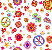 Childish wallpaper with hippie peace symbol, flower-power, poppies, butterfly, mushroom and paisley poster