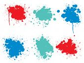 Collection of artistic grungy paint drop, hand made creative splash or splatter stroke set isolated  poster