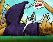 pic of mayhem  - Cartoon illustration of Grim Reaper text messaging and driving - JPG