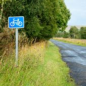 Bicycle lane sing on a cycle route in Scotland