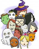 Halloween Illustration Featuring Different Faces Wearing Masks