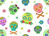 Seamless Background Halloween Illustration Featuring Colorful Sugar Skulls