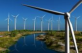 picture of generator  - Of wind generators   on the sky - JPG