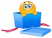 Emoticon peeking out of an open gift box
