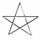 picture of pentagram  - 3d silver pentagram symbol isolated on a white background - JPG