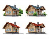 Cottage house cartoon icons