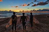 OCEANSIDE, CALIFORNIA - OCT 11: 3 unidentified surfers look for one last wave and admire a Pacific O