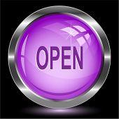 Open. Internet button. Vector illustration.