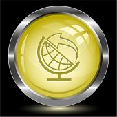 Globe and arrow. Internet button. Raster illustration.