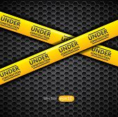 Under construction caution tape, vector