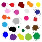 Big Set Color Blobs Stains, Isolated On White Background, Vector Illustration